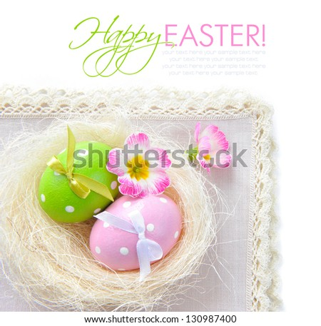 Colorful easter eggs - easter composition (with easy removable text)