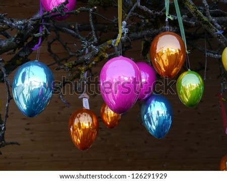 Colorful easter eggs Easter tree out side