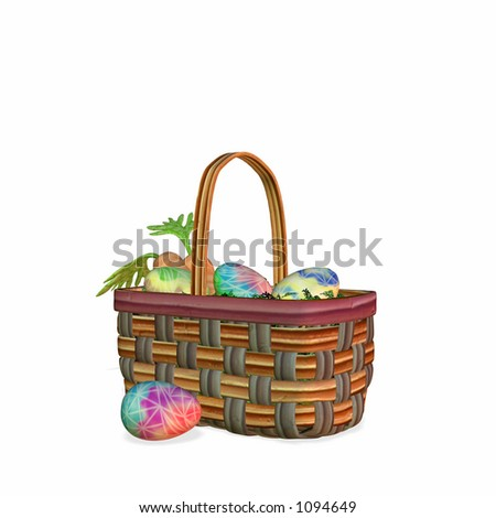 Colorful Easter eggs in a basket with carrots.