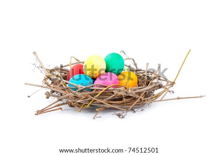 Colorful Easter eggs in a nest from branches on a white background, Spring Image.