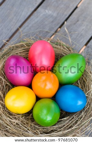 Colorful easter eggs in straw nest