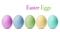 Colorful Easter Eggs isolated on white background with clipping path