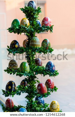 Colorful easter eggs natural coloring with bees wax