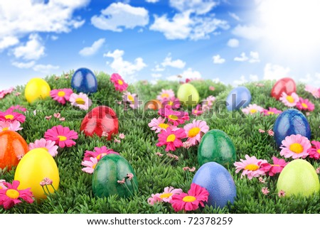 Colorful easter eggs on meadow with blue sky.