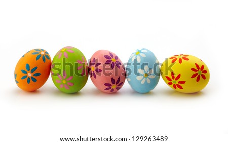 Colorful Easter eggs on white background