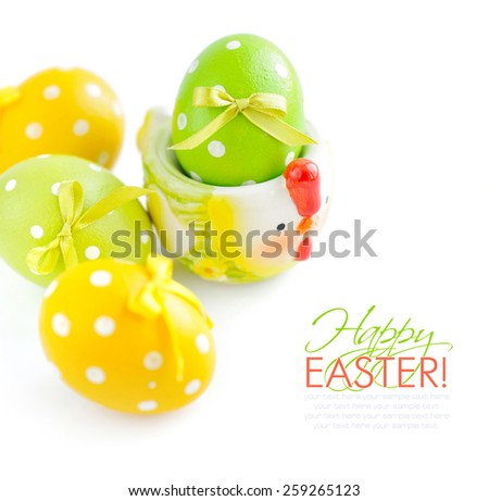 Colorful easter eggs on white background #259265123