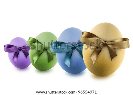 colorful easter eggs with ribbon, isolated on white