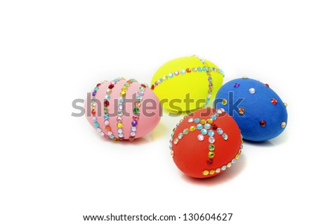colorful easter with jewel on isolated white background