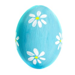 Colorful Egg isolated on white background close up. Happy Easter Handmade painted color Egg macro