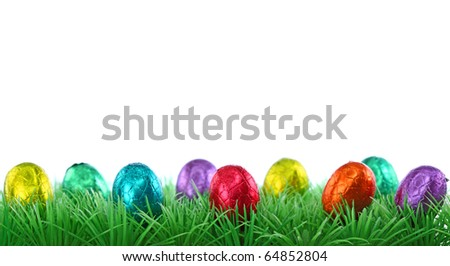 Colorful eggs and green grass