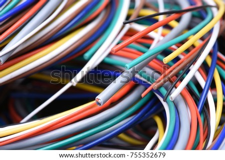 Colorful electrical cables #755352679