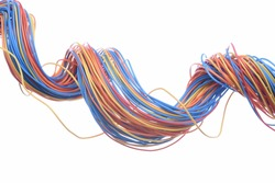 Colorful electrical cables isolated on white background