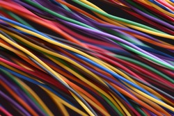Colorful electrical wire used in telecommunication internet cable network and computer system