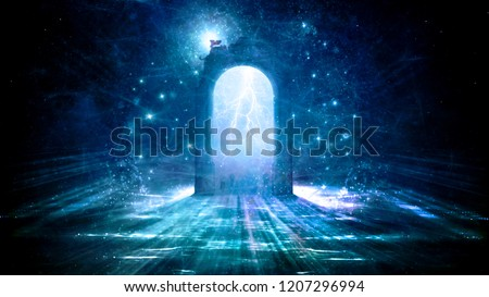Colorful electrifying 3d rendering gate in space that leads to another dimension in space