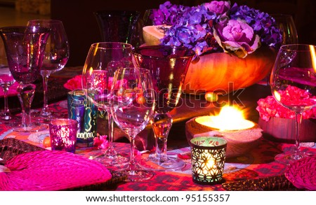 Colorful elegant dinner table setting.