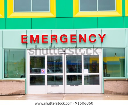 Colorful Emergency Entry/Exit door implying this is image of children\'s hospital.