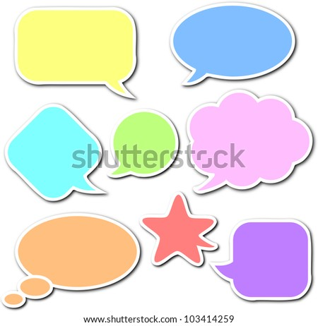 Colorful, empty and blank comic speech bubbles stickers set with white border and shadow on white background