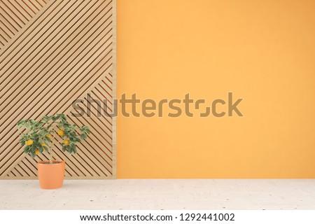 Colorful empty room. Scandinavian interior design. 3D illustration