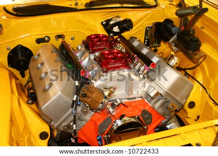 Colorful engine bay with huge engine
