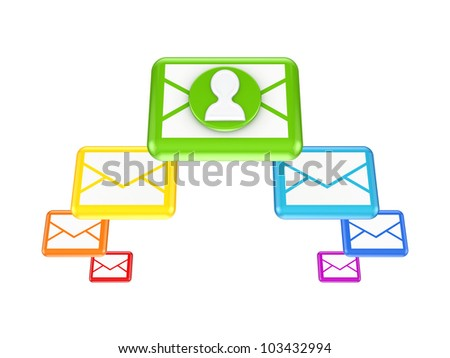 Colorful envelopes and white contacts symbol.Isolated on white background.3d rendered.