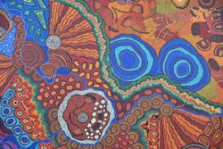 Colorful Ethnic Aboriginal Australian colorful pattern whole background