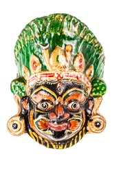 colorful ethnic nepalese mask isolated over a white background