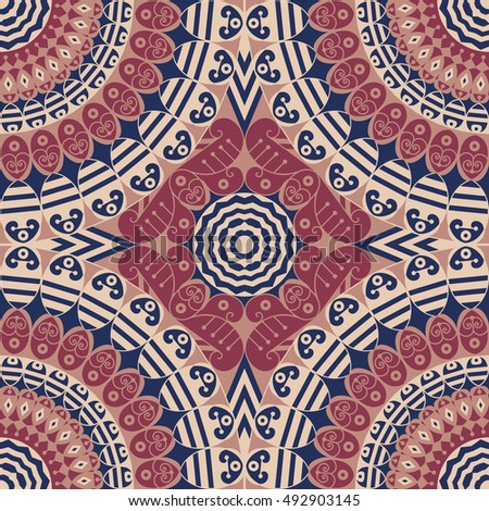 Colorful ethnic patterned background. Arabesque ornament