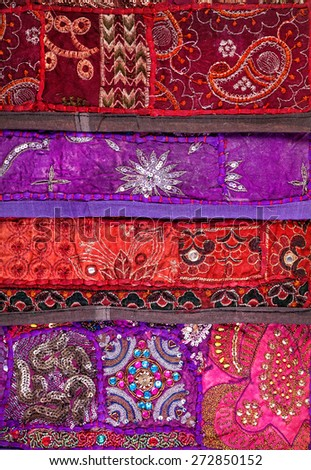 Colorful ethnic Rajasthan cushion cover on flea market in India