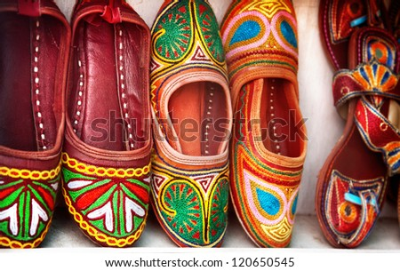 Colorful Traditional Shoes For Sale In Jodhpur, Rajasthan, India