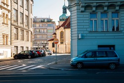 Colorful European city street in Prague, Czech Republic