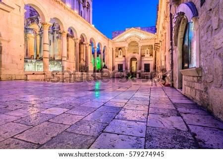 Colorful evening view at old city square Peristil in town Split, ancient roman architecture in front of Saint Domnius bell tower, croatian travel places. / Selective focus, long exposure.