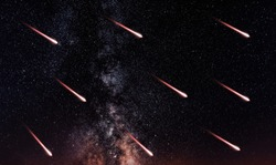 Colorful explosive starry sky over Moscow
