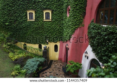 Colorful exterior ancient house architecture style building like a beautiful church outside Ghibli Museum, Mitaka, Japan