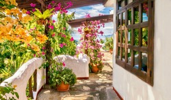 Colorful exterior view of a seaside hotel balcony, with Mediterranean style white walls and vibrant bougainvillea flowers. Philippines.