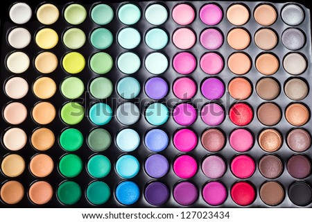 Colorful eye shadows palette. Makeup background