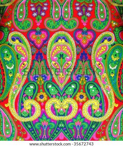 stock photo : Colorful fabric with ornamental design
