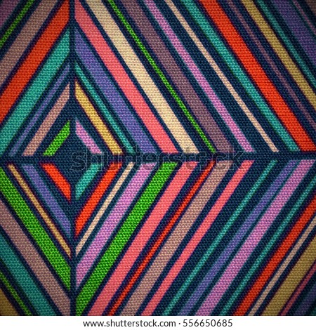 colorful fabrics with oblique lines motives and diamonds for sale