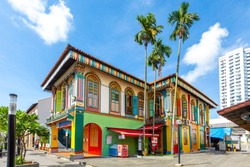 Colorful facade of building in Little India, Singapore.