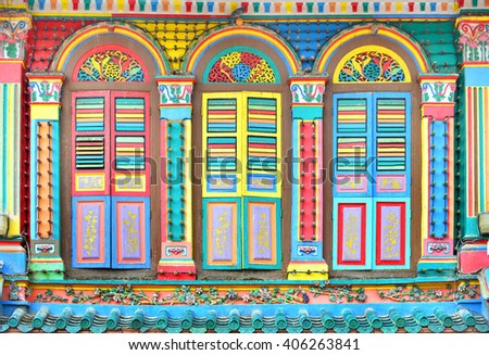 Colorful Facade Of Building With Clear Blue Sky In Little India Singapore Little India
