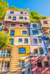 Colorful facade of house in Vienna Austria.
