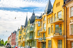 Colorful facades of buildings in Helsinki, the capital of Finland, the traditional Scandinavian architecture, Helsinki