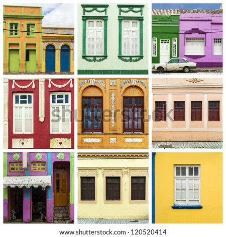 Colorful facades of colonial houses in brazilian city