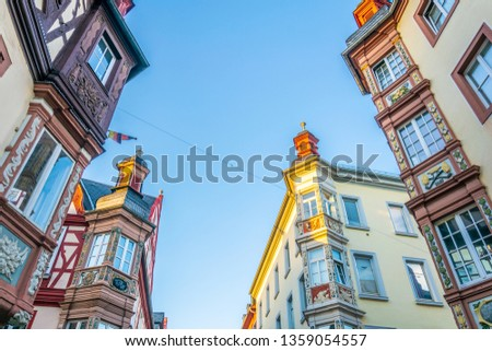 Colorful facades of historical houses in Koblenz, Germany #1359054557