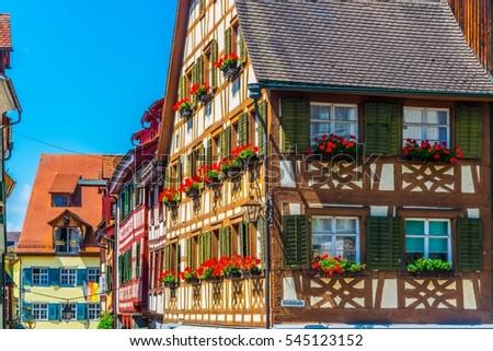 Colorful facades of houses in the german city meersburg #545123152