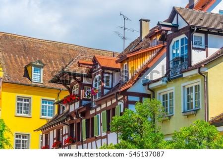 Colorful facades of houses in the german city meersburg #545137087
