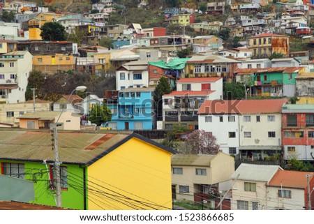 Colorful facades of Valparaíso, Chile