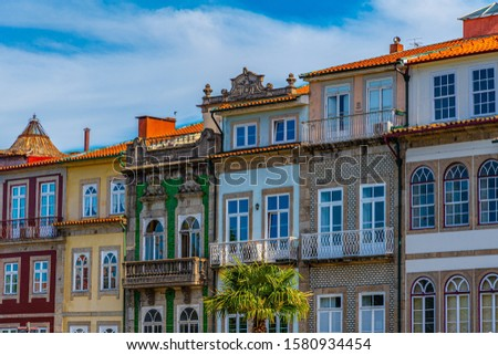 Colorful facades on Avenida da Liberdade in the historical center of Braga, Portugal #1580934454