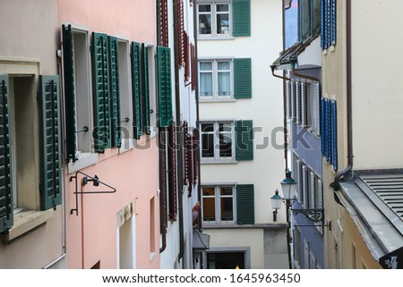 Colorful Facades with Windows and Shutters in Zurich, Switzerland