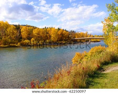 Colorful fall foliage along the Bow River, Calgary, Canada