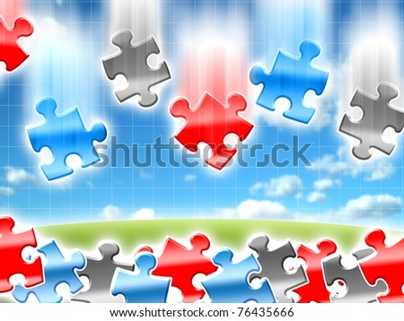 colorful falling ideas concepts puzzles illustration